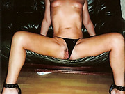Sexy mom wearing lingerie and black thong masturbates with a cucumber