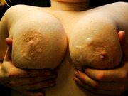 BBW see my big tits covered with sperm and naked body outdoors
