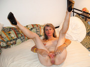Granny Ingrid from Hamburg shows all for you spreading her legs