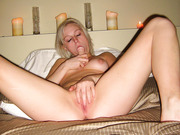 Frisky blonde self orgasm using fingers and anal dildo sex toy