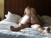 Blonde cowgirl gives sexy oral and hardcore sex in a hotel room