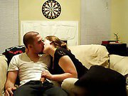 Alluring brunette gives her guy a hot blowjob and handjob