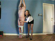 Hot brunette ties up her man and gives him a blowjob